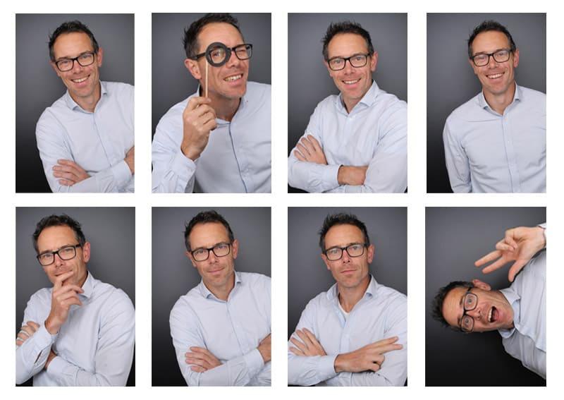 Verschillende profielfoto's in een photo booth